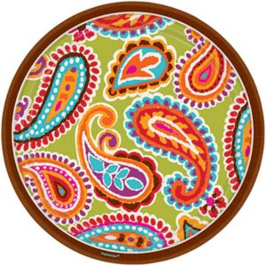Bright Paisley Dinner Plates 8ct