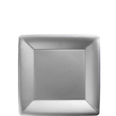 Silver Paper Square Dessert Plates 20ct
