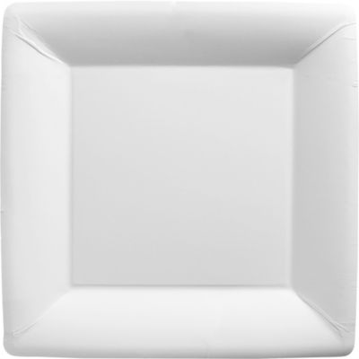 White Paper Square Dinner Plates 20ct