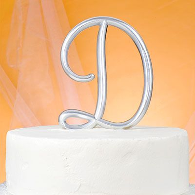 Monogram D Wedding Cake Topper