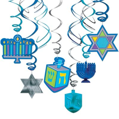 Hanukkah Hanging Swirl Decorations 12ct