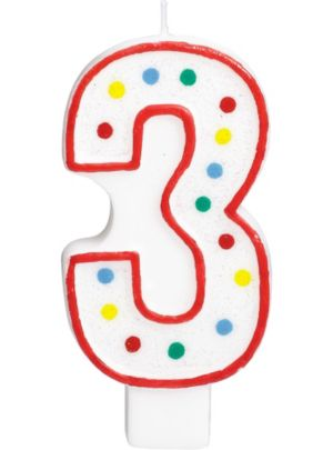 Giant Glitter Red Outline Number 3 Birthday Candle