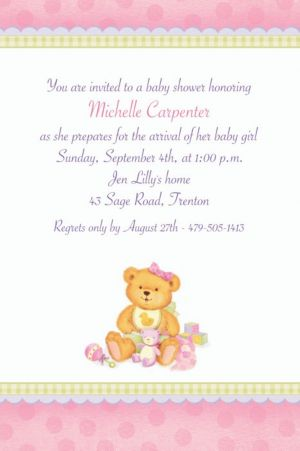 Custom Precious Bear Pink Baby Shower Invitations