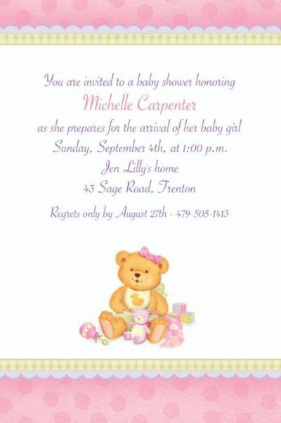 custom precious bear pink baby shower invitations party city