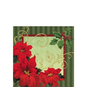Vintage Poinsettia Beverage Napkins 36ct