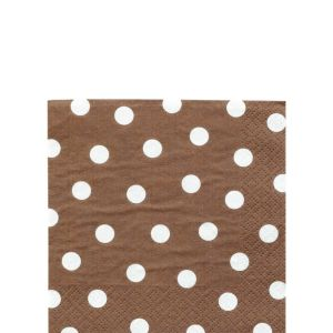 Brown Polka Dot Beverage Napkins 16ct