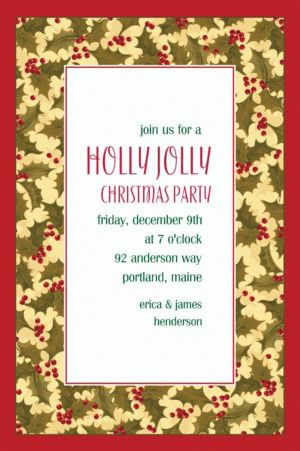Custom Winter Holly Invitations