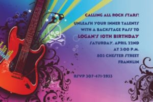 Custom Rock Star Invitations