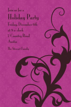 Custom Holiday Filigree Purple Invitations