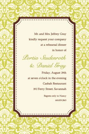 Custom Classic Damask Lime Border Invitations