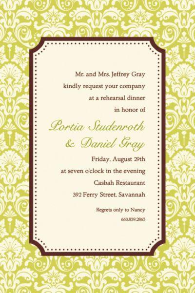 Custom Classic Damask Lime Border Invitations
