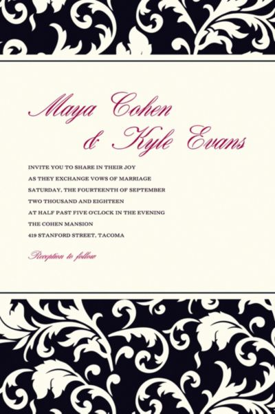 Damask Stripe Black Custom Invitation
