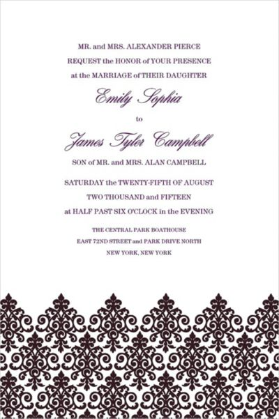 Unbridled Filigree Black Custom Invitation