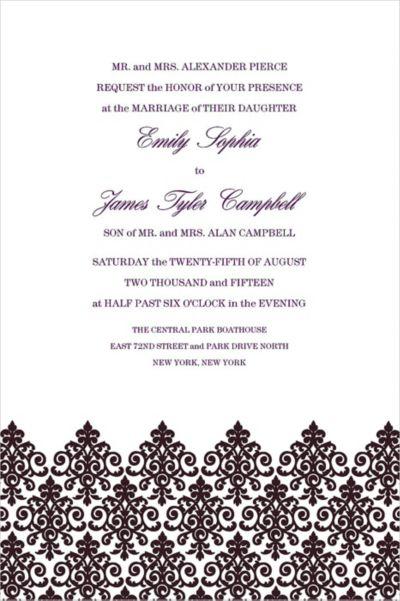 Custom Unbridled Filigree Black Invitations