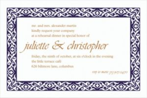 Custom Embellished Borders Navy Invitations