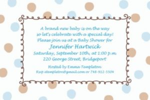 Custom Blue Dots Border Baby Shower Invitations