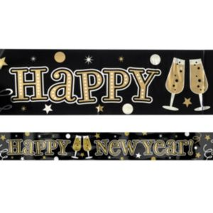 Black, Gold & Silver New Year's Banner