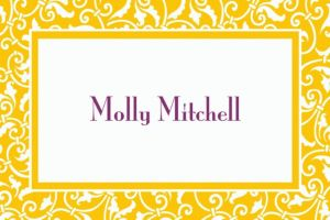 Custom Sunshine Yellow Ornamental Scroll Thank You Notes