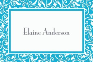 Custom Caribbean Blue Ornamental Scroll Thank You Notes