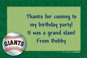 Custom San Francisco Giants Thank You Notes