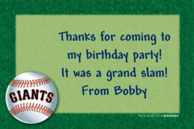 Custom San Francisco Giants Thank You Notes