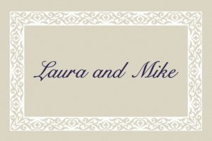 Custom Embellished Border Beige Thank You Notes