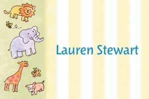 Custom Tossed Animals & Stripe Baby Shower Thank You Notes