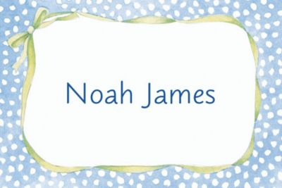 Custom Blue Polka Dots Baby Shower Thank You Notes
