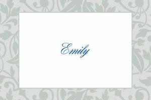 Custom Gray Damask Border Thank You Notes