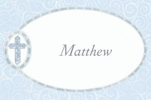 Custom Blue Cross with Filigree Thank You Notes