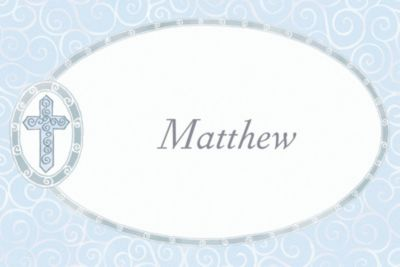 Blue Cross with Filigree Custom Thank You Note