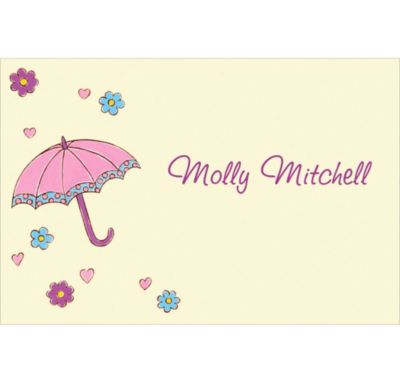 Umbrella with Hearts & Daisies Custom Baby Shower Thank You Note