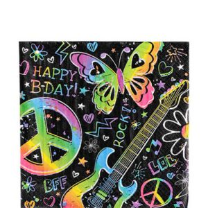 Neon Doodle Lunch Napkins 16ct