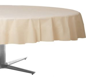 Vanilla Cream Plastic Round Table Cover