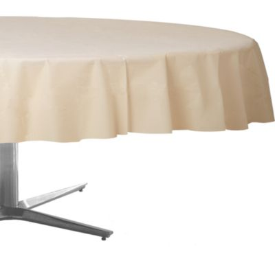 Vanilla Plastic Round Table Cover