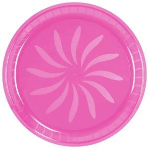 Bright Pink Plastic Swirl Platter