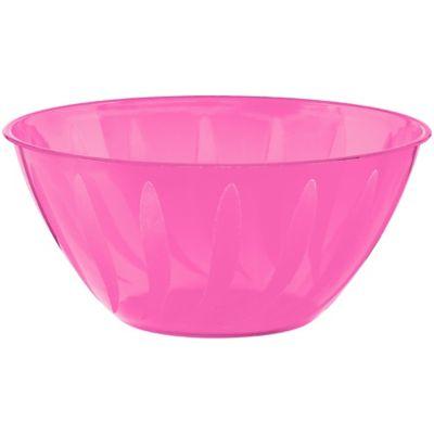 Bright Pink Plastic Swirl Bowl