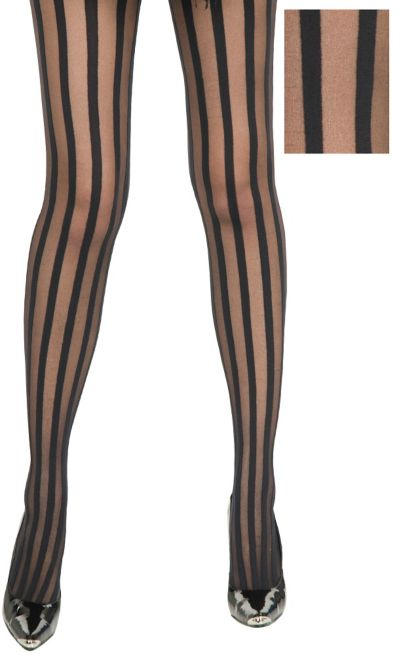 Adult Black Ribbon Stripe Pantyhose