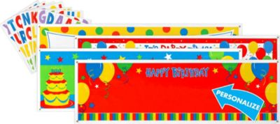 Birthday Personalized Banners 4ct - Balloon Fun