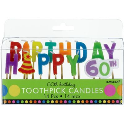 Dots & Stripes 60th Birthday Candle Picks