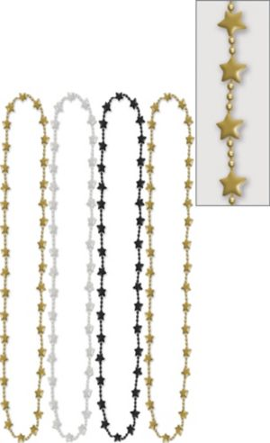 Metallic Black, Gold & Silver Star Bead Necklaces 42in 4ct