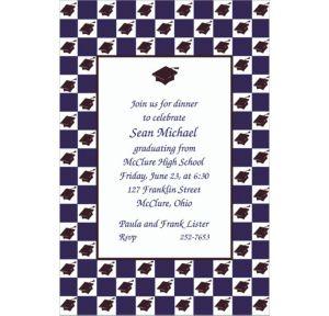 Custom Mortarboard Checkerboard Graduation Invitations