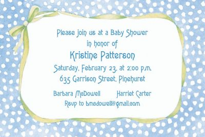 Custom Blue Polka Dots with Bow Baby Shower Invitations