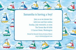 Custom Sailing Sailboats Baby Shower Invitations