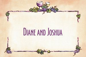 Custom Grapes and Wine Border Thank You Notes