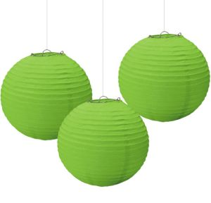 Kiwi Green Paper Lanterns 3ct