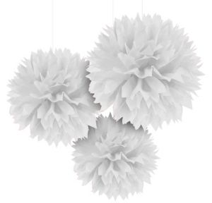 White Fluffy Decorations 3ct