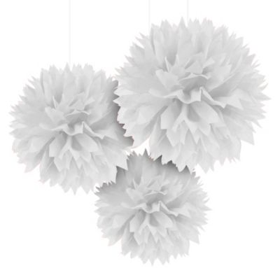 White Fluffy Decoration 16in 3ct
