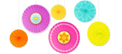 Spring Paper Fan Decorations 6ct