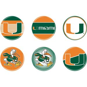 Miami Hurricanes Buttons 6ct